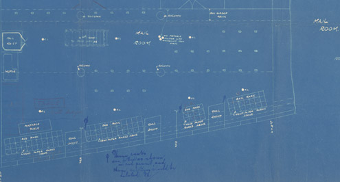 Titanic blue print, detail of Mail Room (POST 29/1117)