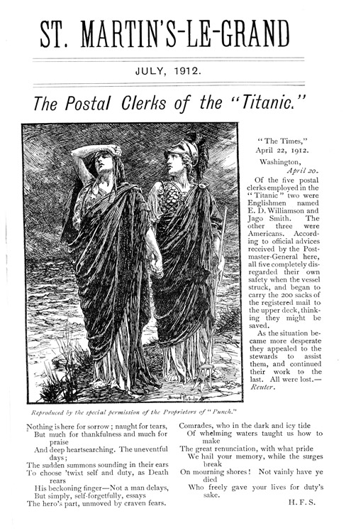 The Postal Clerks of the Titanic, St Martin's le Grand, July 1912 (POST 92/1141)