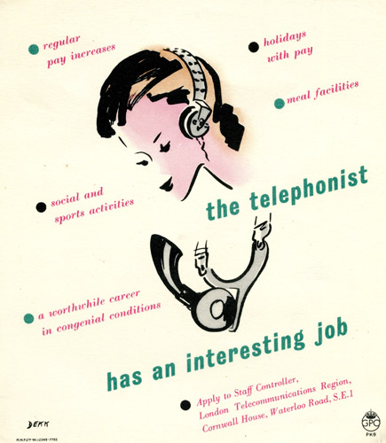 The telephonist has an interesting job - poster by Dorrit Dekk