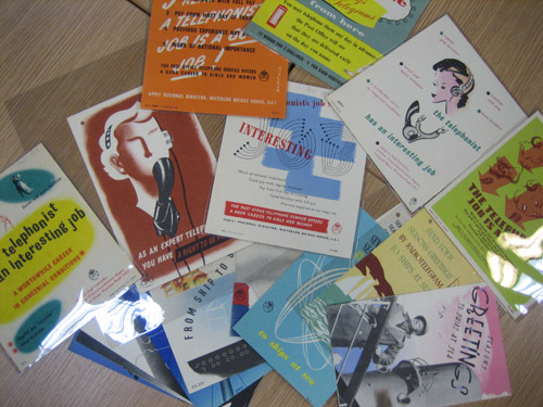 Telegram and telephonist posters which will be transfered to the BT Archives