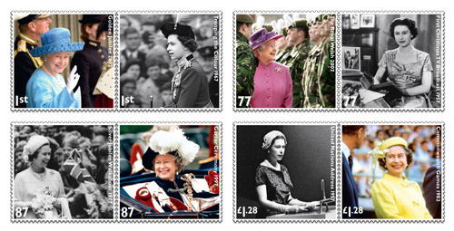 The Diamond Jubilee stamps are: 1st Class – Golden Jubilee 2002, Trooping the Colour 1967. 77p – The Royal Welsh 2007, First Christmas TV Broadcast 1957. 87p – Silver Jubilee Walkabout 1977, Garter Ceremony 1997. £1.28 – United Nations Address 1957, Commonwealth Games 1982.