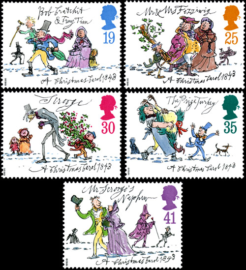 150th Anniversary of Publication of A Christmas Carol by Charles Dickens issue, 9 November 2011. 19p – Bob Cratchit and Tiny Tim; 25p – Mr and Mrs Fezziwig; 30p – Scrooge; 35p – The Prize Turkey; 41p – Mr Scrooge's Nephew.