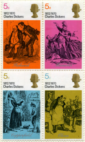 Four stamps from the Literary Anniversaries issue, 3 June 1970. 5d – Mr Pickwick and Sam Weller – Pickwick Papers; 5d – Mr and Mrs Micawber – David Copperfield; 5d - David Copperfield and Betsy Trotwood – David Copperfield; 5d - Oliver asking for more – Oliver Twist.
