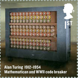 A stamp from the Britons of Distinction issue, 23 February 2012. 1st Class – Alan Turing.