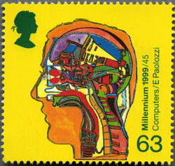 A stamp from The Inventors' Tale issue, 12 January 1999. 63p – Computer inside Human Head (Alan Turing's work on computers).