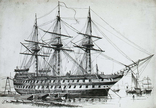 HMS Agamemnon shown embarking on the English portion of the Atlantic telegraph cable (2012-0172/01)