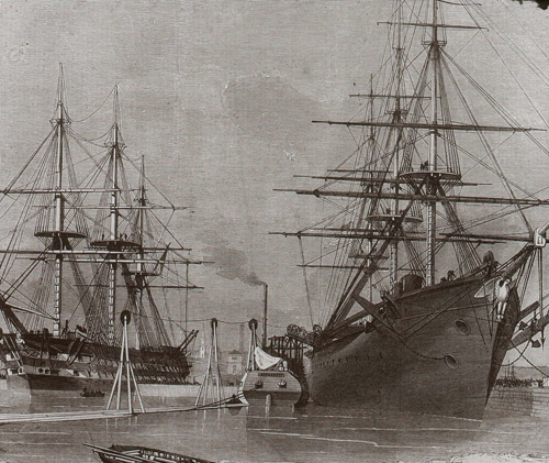 USS Niagra, which participated with HMS Agamemnon in the 1857 and 1858 attempts to lay the Atlantic telegraph cable (2012-0172/02)