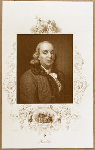 A black and white steel engraving of Benjamin Franklin, c. 1865 (2009-0038)