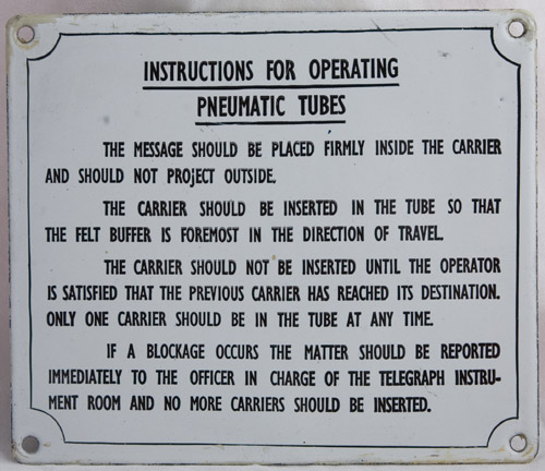 Plaque giving instructions for operating Pneumatic Tubes (2002-0376)