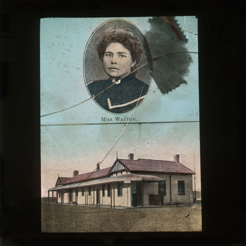 A hand-coloured photographic lantern slide with a oval portrait of a woman in a high collar in the top half of the image, with the caption 'MISS WALTON' underneath. (2012-0157)