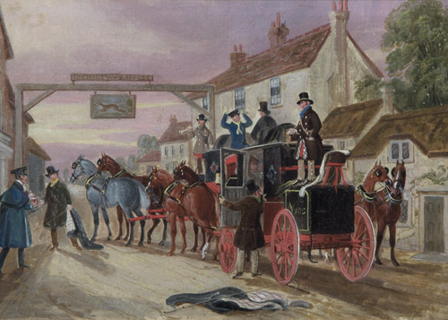 The Halfway House: A Mail Coach outside the 'Greyhounds Inn' by James Pollard (OB1995.519)