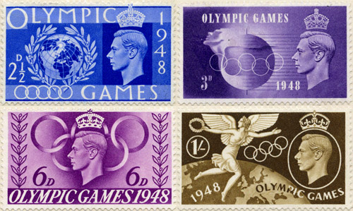 London 1948 Olympic Games stamps, issued 29 July 1948