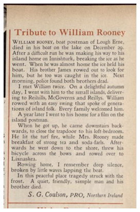 Tribute to William Rooney, The Post Office Magazine, February 1962.