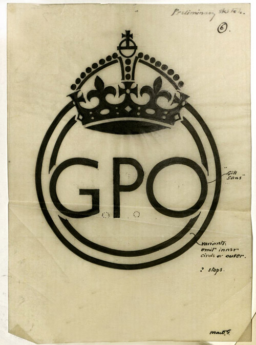 "Sketch / artwork for the redesign of the GPO logo by MacDonald Gill in 1934 (POST 122/8391). The first approved version had two concentric circles but this was soon reduced to one. The annotations also mentions the typeface used as ""Gill Sans"" which had been created by MacDonald Gills' brother Eric."