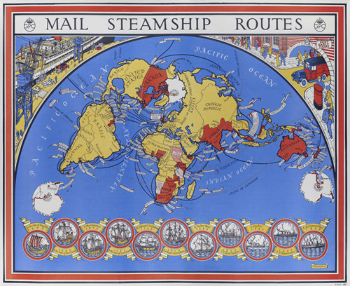 Map of Mail Steamship Routes (POST 118/833 holds a photographic print)