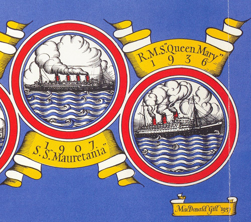 Detail of Mail Steamship Routes – S.S. Mauretania & RMS Queen Mary
