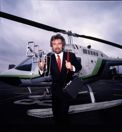 Noel Edmonds promoting television licensing via a helicopter.