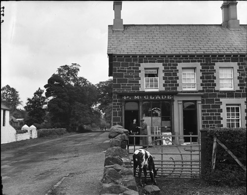 Cow of Knockcloghrim - A photographer working for The Post Office Magazine in the 1930s tried to make this photo of the village post office more exciting by posing a cow which was grazing nearby in the foreground. Unfortunately the cow kept moving out of shot, hence this rather unimpressive result.