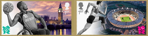 The 1st class stamps: an athlete wearing running blades with the Olympic Stadium, and a Wheelchair Basketball player with the Palace of Westminster.