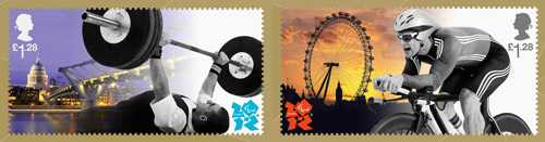 The £1.28 stamps: a powerlifter with St Paul's Cathedral, and a cyclist with the London Eye.