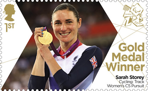 Royal Mail's Gold Medal Winner stamp issued today commemorating Sarah Storey's gold medal win in the Cycling: Track Women's C5 Pursuit.