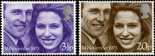 Royal Wedding Stamps, 14 November 1973 - Princess Anne and Captain Mark Phillips.