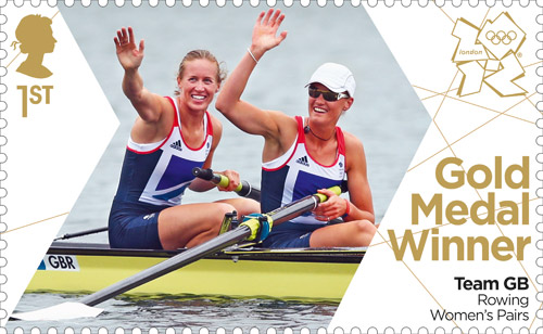 Gold Medal Winner stamp featuring Helen Glover and Heather Stanning, Rowing Women's Pairs