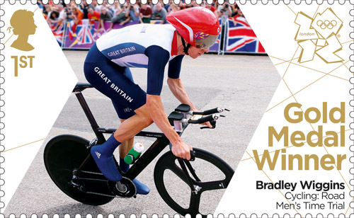Gold Medal Winner stamp featuring Bradley Wiggins, Cycling: Road Men's Time Trial.