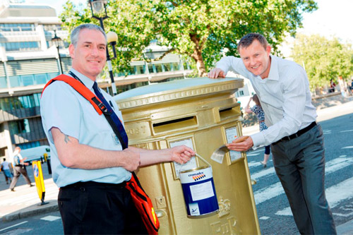 One of the gold letter boxes (image from Royal Mail Stamps & Collectables Facebook page)