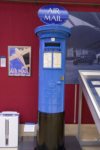 A rare blue Air Mail pillar box