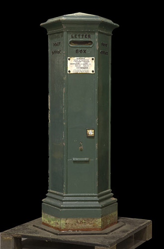 One of the first pillar boxes to be used in the British Isles, introduced in the Channel Islands circa 1852-1853 (OB1996.653)