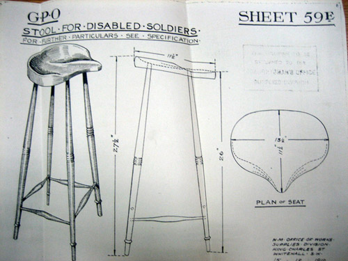 Part of a design for a special stool for disabled soldiers, circa 1919. (POST 30/4652c)