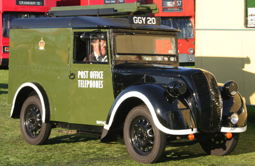 Morris series Z telephone utility in original wartime colours with blackout markings.