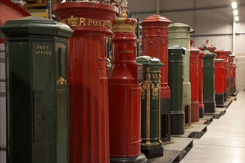 Pillar boxes at our Museum Store in Essex.