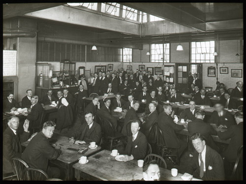 'London Postal School. Postmens Retiring Room. Tea Time' - Lantern Slide (2012-0049/13)