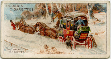 'A Mail Coach in a Snow-Drift' - Ogden's Cigarette Card (2010-0469/09)