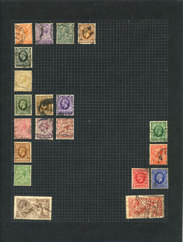 A page from the album where the stamps are arranged to form the letter F.