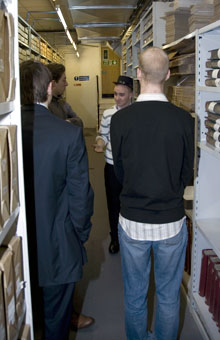 A group of student teachers tours the Royal Mail Archive.