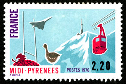 French Stamp – 'Regions of France – Pyrenees' featuring Concorde, 10/01/1976