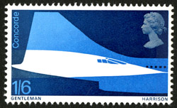 First Flight of Concorde - 1s6d value, designed by David Gentleman, issued 3 March 1967.