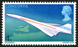 First Flight of Concorde - 4d value, designed by M. and S. Goaman, issued 3 March 1967.