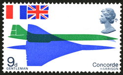 First Flight of Concorde - 9d value, designed by David Gentleman, issued 3 March 1967.
