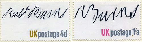 Jock Kinneir's design, showing Burns' signature without the Queen's head.