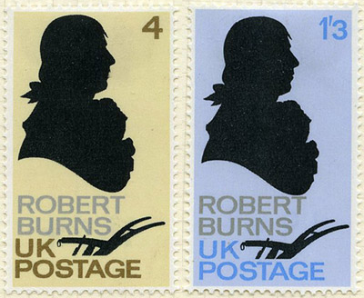 Jock Kinneir's revised designs, showing Burns' signature and portrait without the Queen's head.