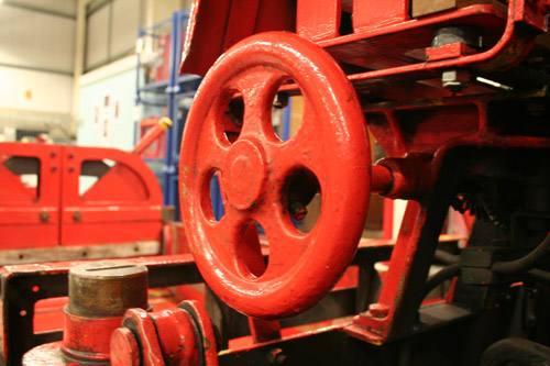 Detail of a break wheel of one of the trains after cleaning.