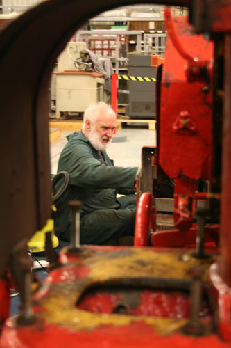 Don Bell working on one of the train units.