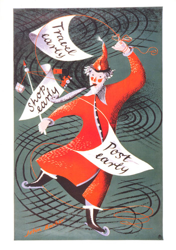 Travel Shop Post Early (Father Christmas) poster by John Rowland Barker a.k.a. Kraber from 1951 (POST 110/3213)