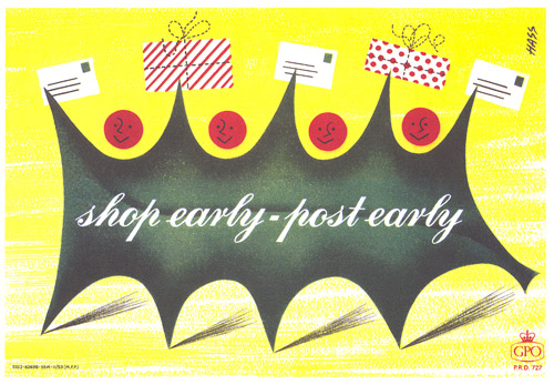 Shop Early – Post Early poster (Holly Leaf) by Derek Hass from 1953 (POST 110/4243)