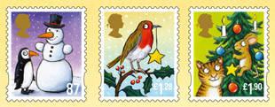 Christmas 2012 - 87p, £1.28 and £1.90 stamps.