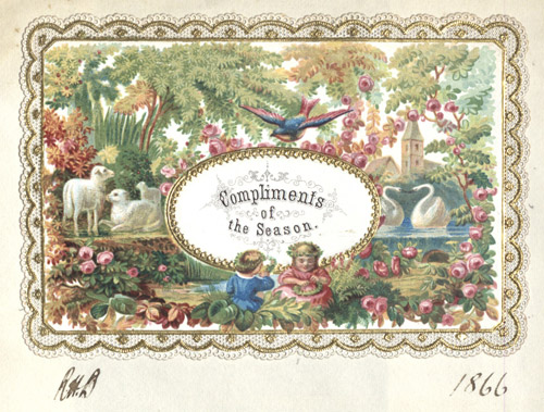 Chromolithographed card from scrapbook, 1866 (E10869)